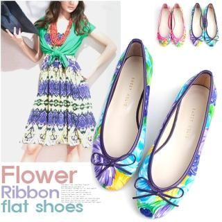 Picture of Miz shoes Beribboned Patterned Flats 1022753787 (Flat Shoes, Miz shoes Shoes, Korea Shoes, Womens Shoes, Womens Flat Shoes)