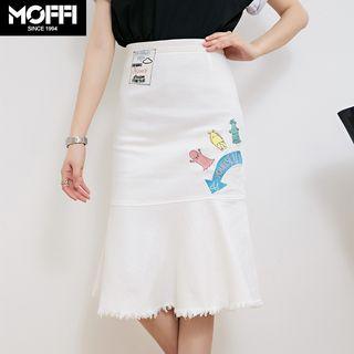 Image For Monster Embroidered Denim Skirt