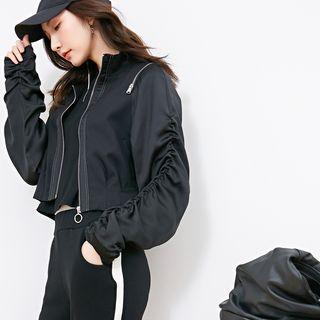 Image For Shirred-Sleeve Zip Crop Jacket