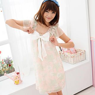 Buy 59 Seconds Floral Pattern Chiffon Dress Baby Pink – One Size 1022186783