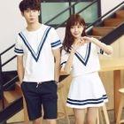 Set: Color-Block T-Shirt + Shorts / Set: Color-Block Top + Skirt 1596