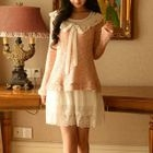 Set: Lace Hem Sleeveless Dress + Crochet Collar Sweater 1596