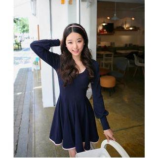 Buy SHY SHY Contrast-Hem Button Details Dress 1022455315