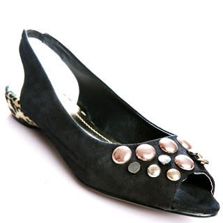 Buy Kvoll Studded Peep-Toe Flats 1022654325