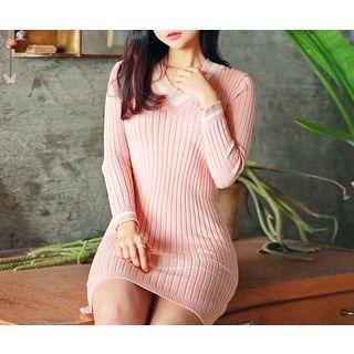 V-Neck Ribbed Knit Dress 1057470902