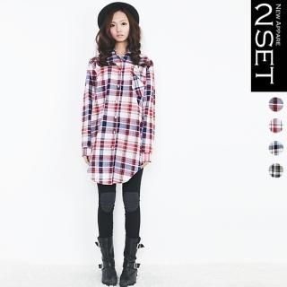 Set: Plaid Long Shirt + Knee-Patch Leggings