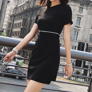 Plain Short Sleeve Cut Out Detail Dress 1066855271