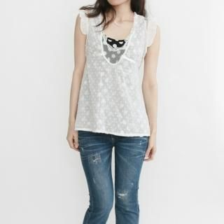 Buy MISSRAINBOW Frill-Trim Dotted Lace Vest 1022932232