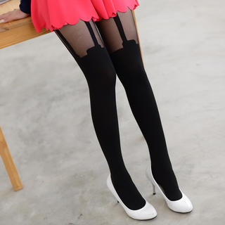 Printed Strap Two-Tone Tights Black - One Size 1035082249