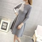 Long-Sleeve Ribbed Sweater Dress 1596