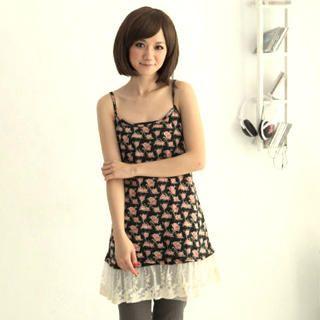 Buy CatWorld Lace-Hem Floral Sleeveless Dress 1022687644
