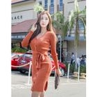 Button-Detail Ribbed Knit Dress With Sash 1596