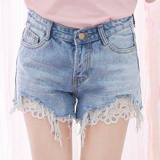 Lace Trim Denim Shorts 1057934410