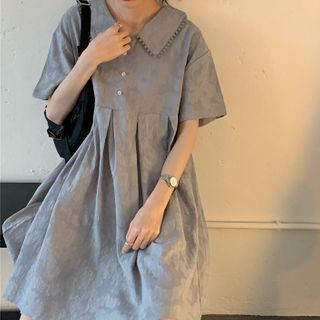 Short-sleeve | Babydoll | Collar | Dress | Blue | Mini | Size | One