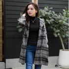 Houndstooth Dropped-Sleeve Hooded Coat 1596