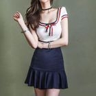 Striped Short Sleeve Ruffle Hem Dress 1596