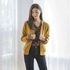 V-Neck Buttoned Colored Cardigan 1596