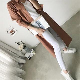 Image For Dual-Pocket Long Shirtdress with Sash