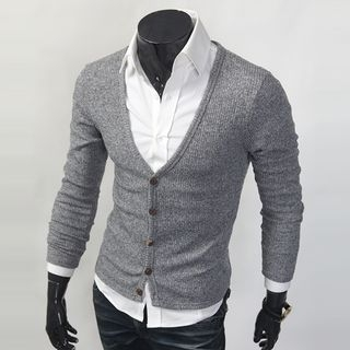 V-Neck Ribbed Cardigan 1058272076