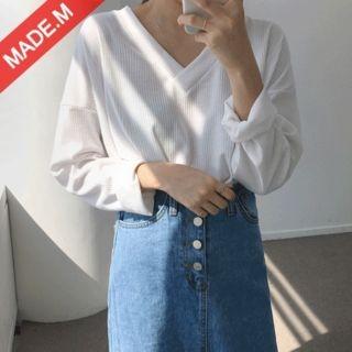 V-Neck Long-Sleeve Ribbed T-Shirt 1058254870