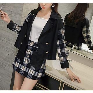 Set: Plaid Panel Double Breasted Jacket + Plaid Mini Skirt 1053778447