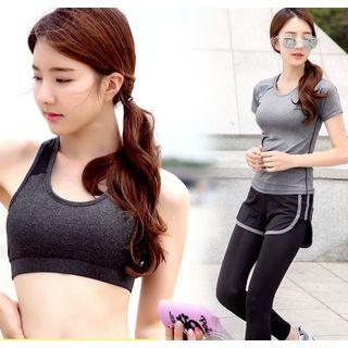 Set: Short-Sleeve Sport T-Shirt + Bra Top + Legging Inset Shorts 1057198384