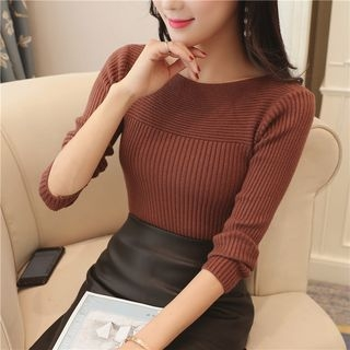 Boat-Neck Knit Top 1062437489