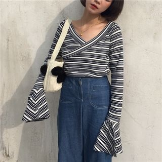 Striped Bell-Sleeve V-Neck T-Shirt 1053299997