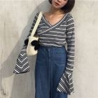 Striped Bell-Sleeve V-Neck T-Shirt 1596