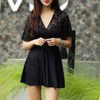 Short-Sleeve Lace Panel Swim Dress 1596