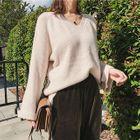 Lantern Long-Sleeve V-Neck Rib Knit Sweater 1596