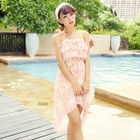 Set: Floral Print Frill Trim Bikini Top + Swimskirt + Cover-Up 1596