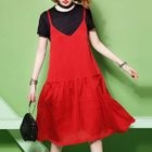Set: Short-Sleeve T-Shirt + Strappy A-Line Midi Dress 1596