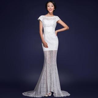 Cap-Sleeve Lace Mermaid Wedding Dress 1037350340