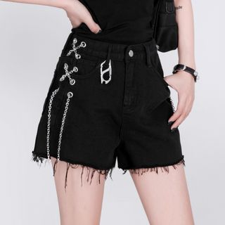 Image of Chained Frayed Shorts