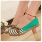 Bow-Accent Striped Flats Pink-39 1596