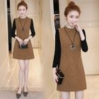 Mock Two-Piece Long-Sleeve Knit A-Line Mini Dress 1596