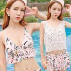 Set: Printed Frill Trim Bikini + Swimskirt + Lace Tank Top 1596