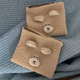 Image of Fleece Zip Pouch 1 Pc - Bear - Light Coffee - One Size