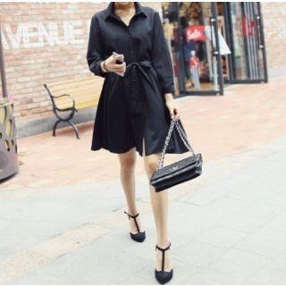 Long-Sleeve Tie-Waist Dress 1046519023