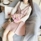 Set: Faux Suede V-Neck Pinafore Dress + Ribbed Long-Sleeve T-Shirt 1596