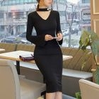 Long-Sleeve Cutout Dress 1596