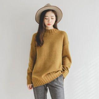 Mock-Neck Drop-Shoulder Knit Top 1055021355