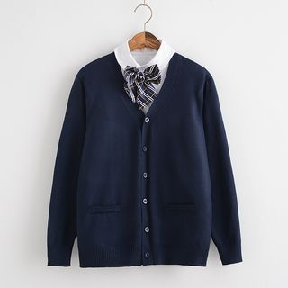 Image of Long-Sleeve Shirt / Knit Cardigan
