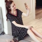 Maternity Striped Short Sleeve Ruffle Hem Dress 1596