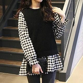 Plaid Tunic Black & White - One Size 1038969424