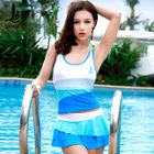 Set: Color Block Tankini + Tiered Skirt 1596