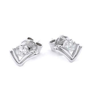 18K White Gold Diamond Earrings - United states