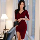 Elbow-Sleeve Ribbed Bodycon Dress 1596