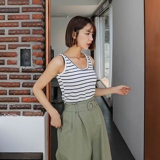 Sleeveless Striped Top 1067157333